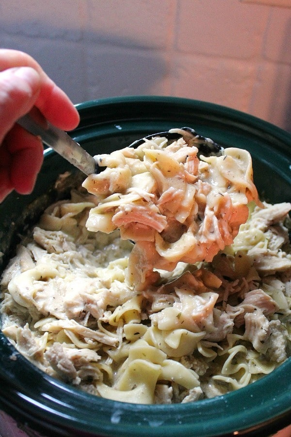 Slow Cooker Herb Chicken Noodles recipe is a hearty meal with shredded chicken, egg noodles, and herbs like thyme and parsley.
