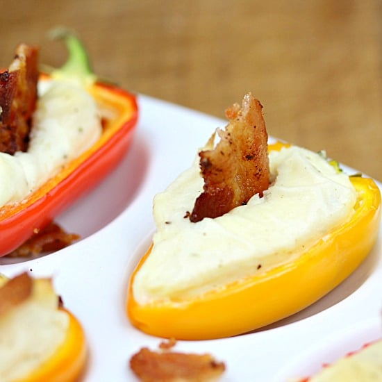 Bacon Ranch Mini Pepper Popper - the perfect little appetizer. A sweet mini bell pepper, stuffed with ranch spiked cream cheese then topped with a bite of crispy bacon!