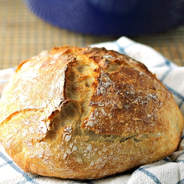 RUSTIC NO-KNEAD BREAD, MADE WITH ONLY EASY INGREDIENTS! SERVE THIS EASY WITH DINNER TONIGHT! #bread #dinner #nokneadbread
