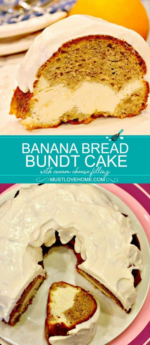 Banana Bread Cream Cheese Bundt Cake is made decadent by adding a luscious cream cheese filling - it's light, moist  and delicious.
