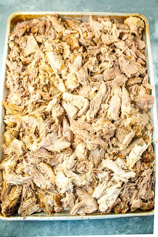 shredded pork ready for crisping under the broiler