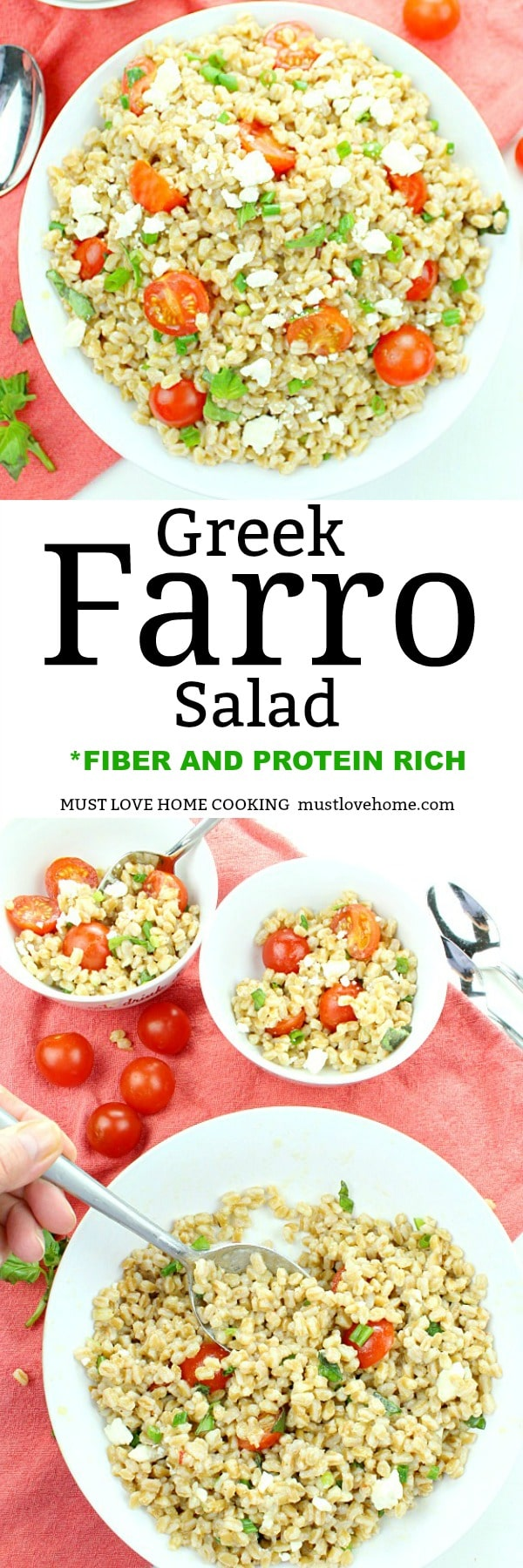 Greek Farro Tomato Salad rich in protein and fiber