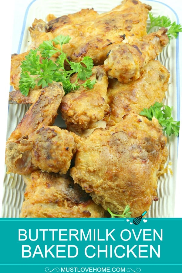 Buttermilk Oven Fried Chicken is a spicy, crunchy and healthier way to satisfy your fried chicken cravings but with  no oil spatter. It's crispy and moist right from the oven!