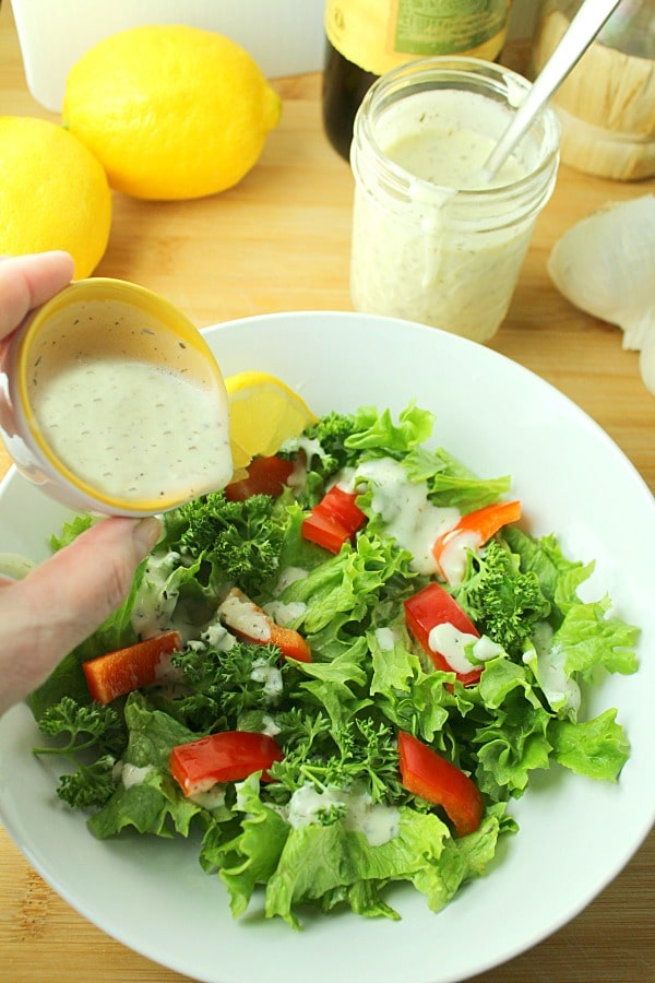 creamy herb greek yogurt dressing on salad