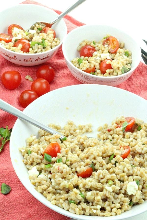 Greek Farro Tomato Salad with spoon