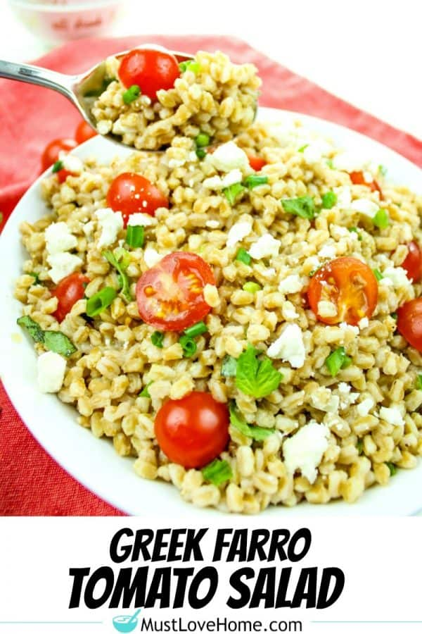 Greek Farro Tomato Salad with Feta Cheese is packed with nutty flavor, bold texture and nutrients. Ready in just 20 minutes, this versatile salad is a perfect pairing for any meal.