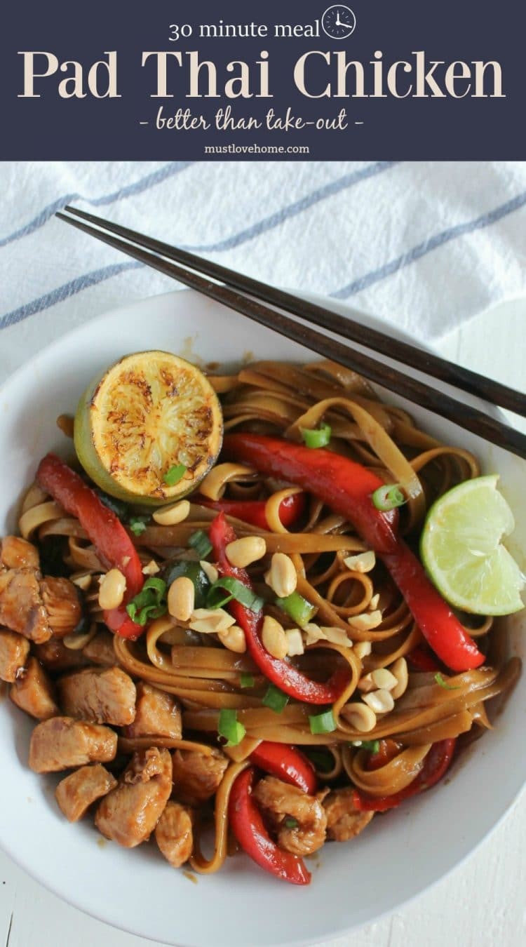 Pad Thai Chicken that is so flavorful you will banish the take-out menus forever!  Moist chunks of savory chicken, tender red pepper rings and creamy noodles bathed in a velvety soy sauce vinaigrette will have your mouth watering from start to tangy finish. It's even better made ahead!