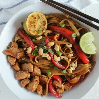 Pad Thai Chicken with broiled lime