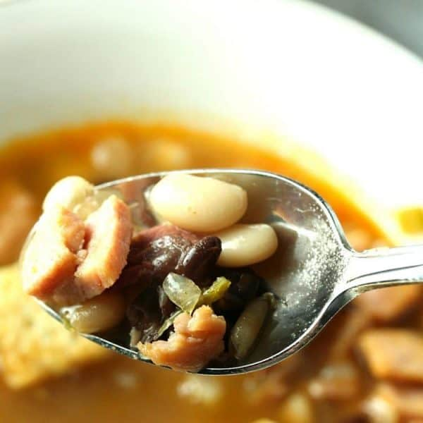 Three Bean Ham Soup with spoon