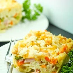 Ham, peas, carrots and wide egg noodles combine for a Smoked Ham Peas and Carrots Bake that tastes like an indulgence but is ready to share in under 30 minutes.