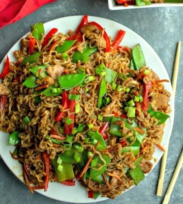 Amazing Chicken Lo Mein with garlic, soy sauce and ginger tastes like take out, but even better!  The secret is in the moist, marinated chicken!