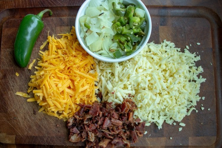 Ingredients on a cutting board for Amazing Jalapeno Popper Salad