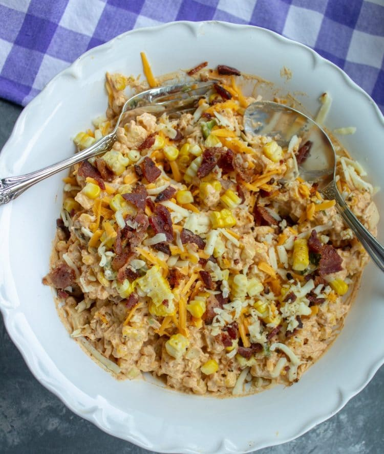 Amazing Jalapeno Popper Salad in a bowl with spoon