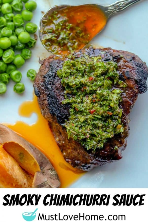 Smoky Chimichurri Sauce -A perfect way to add fresh smoked flavor to your beef, chicken or pork! Made with fresh parsley, olive oil and zesty seasonings.