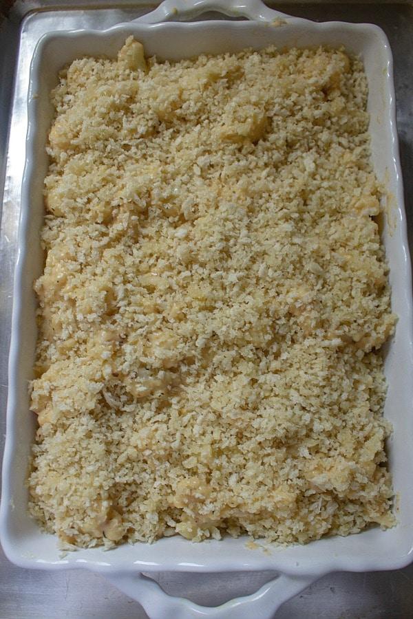 cauliflower mac and cheese in white dish