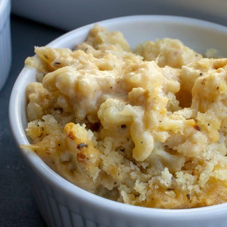 cauliflower mac and cheese in white ramikin