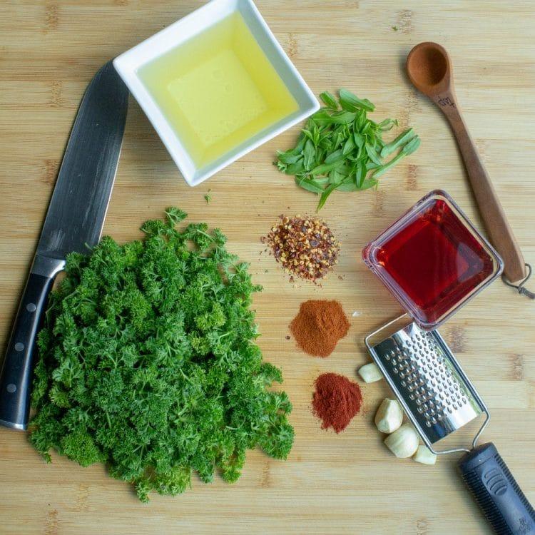 Ingredients to make chimichurri sauce