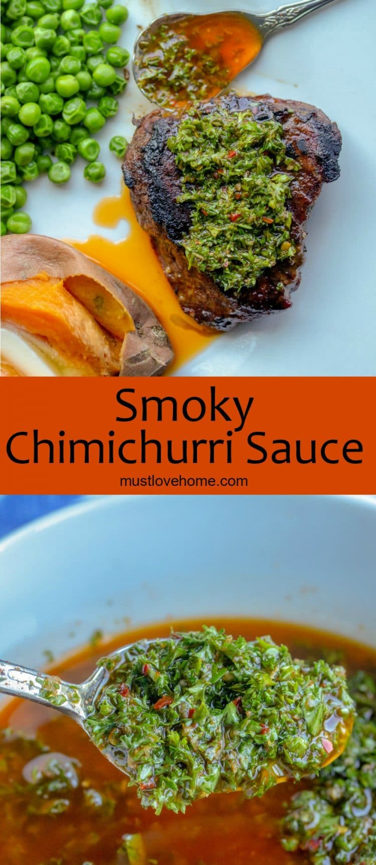 Smoky Chimichurri Sauce is the perfect way to add zesty, smoked flavor to your beef, chicken or pork! Made with fresh parsley, smoked paprika, oregano, garlic, red pepper flakes, olive oil and vinegar, it is a quick and tasty addition to any meal.