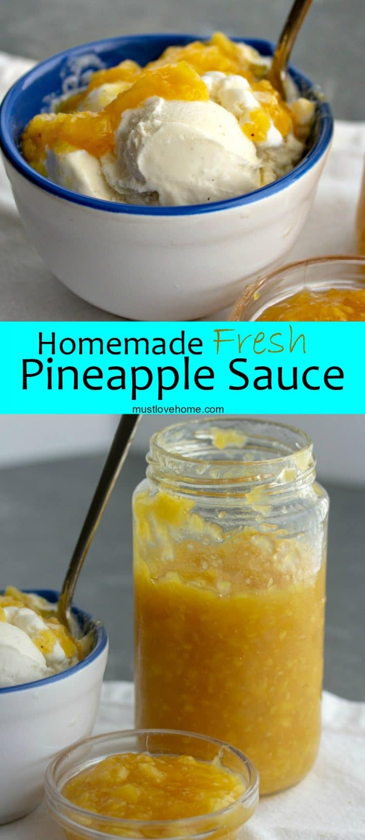 Thick, sweet and chunky Fresh Homemade Pineapple Sauce will bring tropical flavor as a topper for your next ice cream sundae or pound cake.