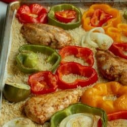 Sheet Pan Chicken Fajitas with Savory Rice
