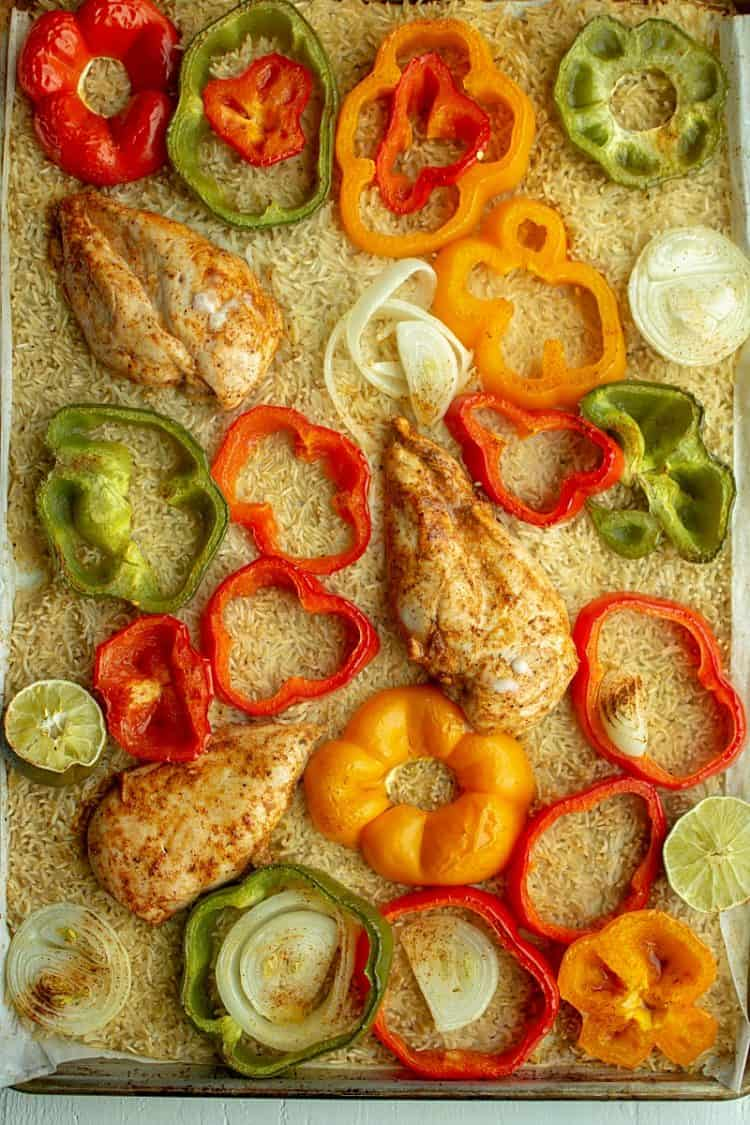 Bake zesty chicken Fajitas and cook savory rice all in one pan!