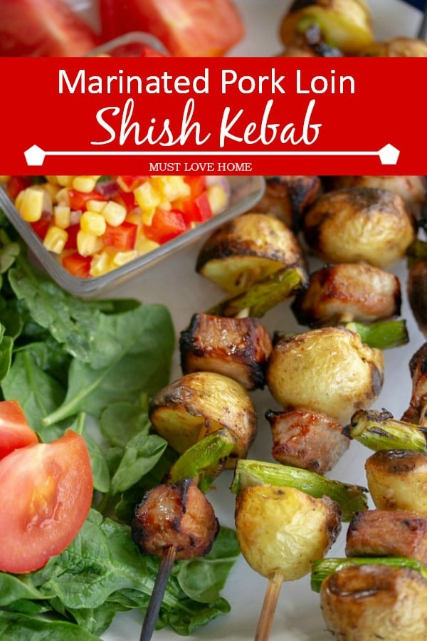 Easy pork and potato skewers that have been marinated for incredible flavor! A flavor-packed dinner your family will love! Cooks in 15 minutes! Get the recipe!#healthy #pork #cleaneating
