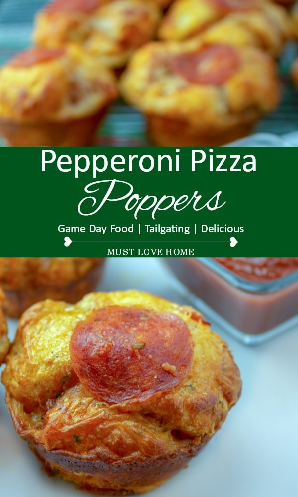 These cheesy Double Pepperoni Pizza Poppers are full of zesty flavor and super simple to make! Be a hit with both adults and kids and serve these tasty game day appetizers!