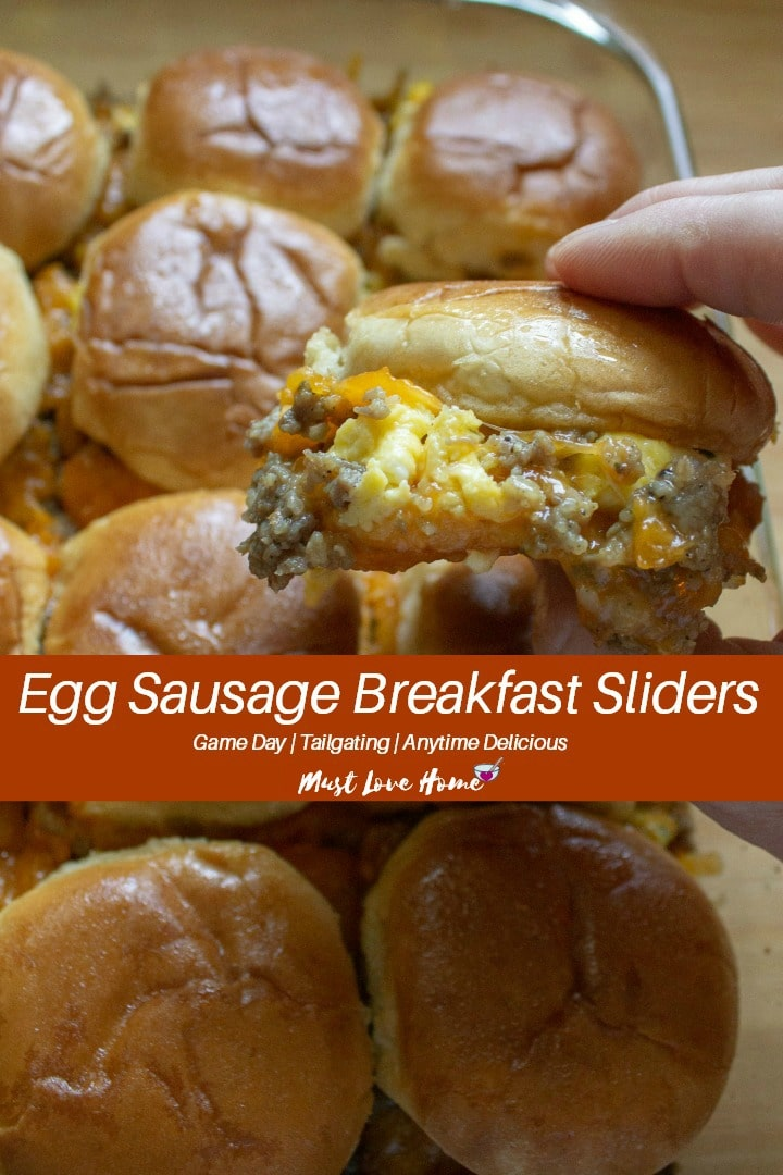 Juicy, tangy and sweetened with maple, Egg Sausage Breakfast Sliders are a delicious way to get Game Day or any day started. Tailgaters and party-goers alike will rave over these easy to make sliders bursting with herb laced eggs, mild sausage and melted cheese! #gamedayfood #sliderrecipes #breakfast #eggs