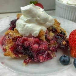 classic berry cobbler with whipped cream on white plate