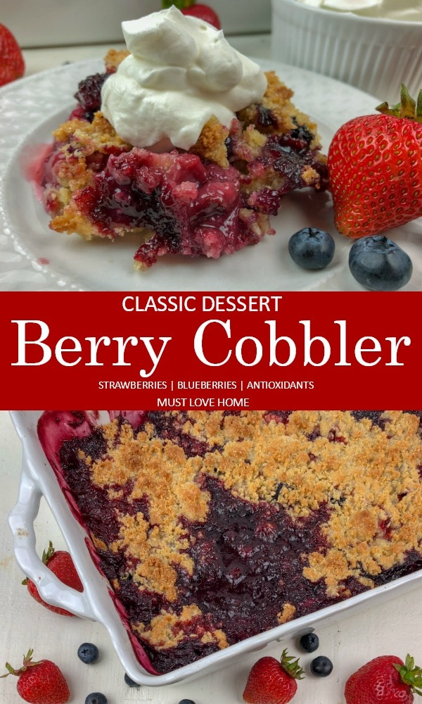 Classic Berry Cobbler recipe, with intense strawberry and blueberry flavor will have dessert fans raving. Simple and delicious, classic berry cobbler comes together quickly with a sweet, yet still tart berry layer covered in a crunchy crumb topping.