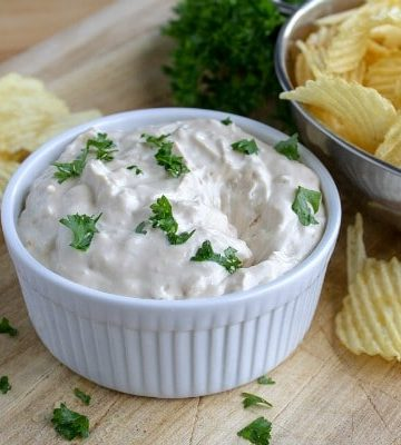 Quick French Onion Dip is amazingly easy to make with only 3 ingredients. One you taste this onion dip recipe, you will NEVER want the store bought kind again!