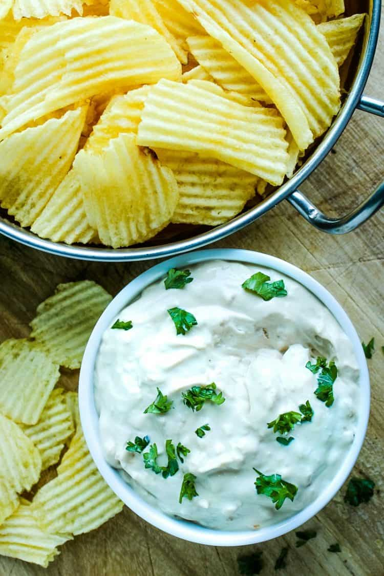 Simple french onion dip with three ingredients