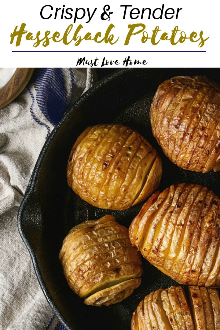 Easy Baked Hasselback Potatoes are tender, crispy sliced potatoes dripping with butter and herbs. A perfect side dish for any meat, cook alongside in the oven. Simple and delicious with only 5 minutes of prep!