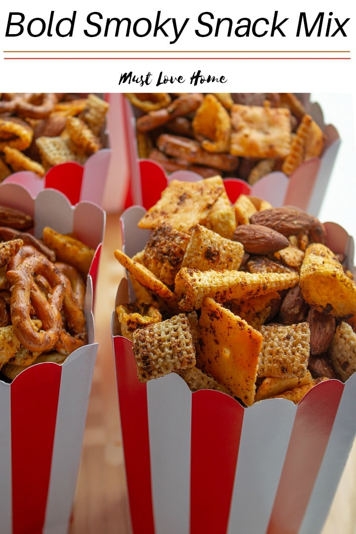 Easy Smoky Snack Mix - a buttery, crunchy treat  singed with a spice mix that will soon be a family favorite. Make this addictive snack recipe in large batches because it will go fast!