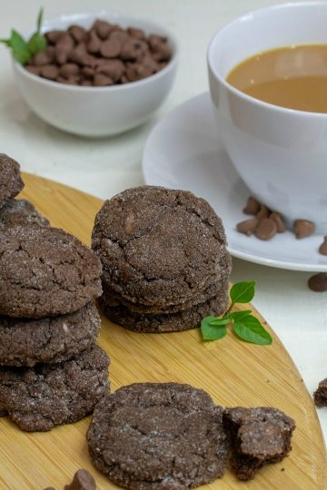 Crispy on the outside with a chewy center, Chocolate Chip Brown Sugar Cookies are double chocolate delicious - made with brown sugar, cocoa and chocolate chips!