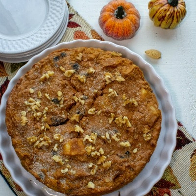 Easy Pumpkin Walnut Bread Pudding