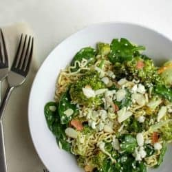 Cold Noodle Broccoli Spinach Salad