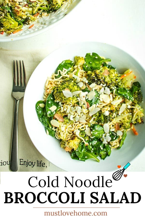 Cold Noodle Broccoli Spinach Salad is a tasty blend of ramen noodles, roasted fresh broccoli and spinach, tossed in a light vinaigrette.