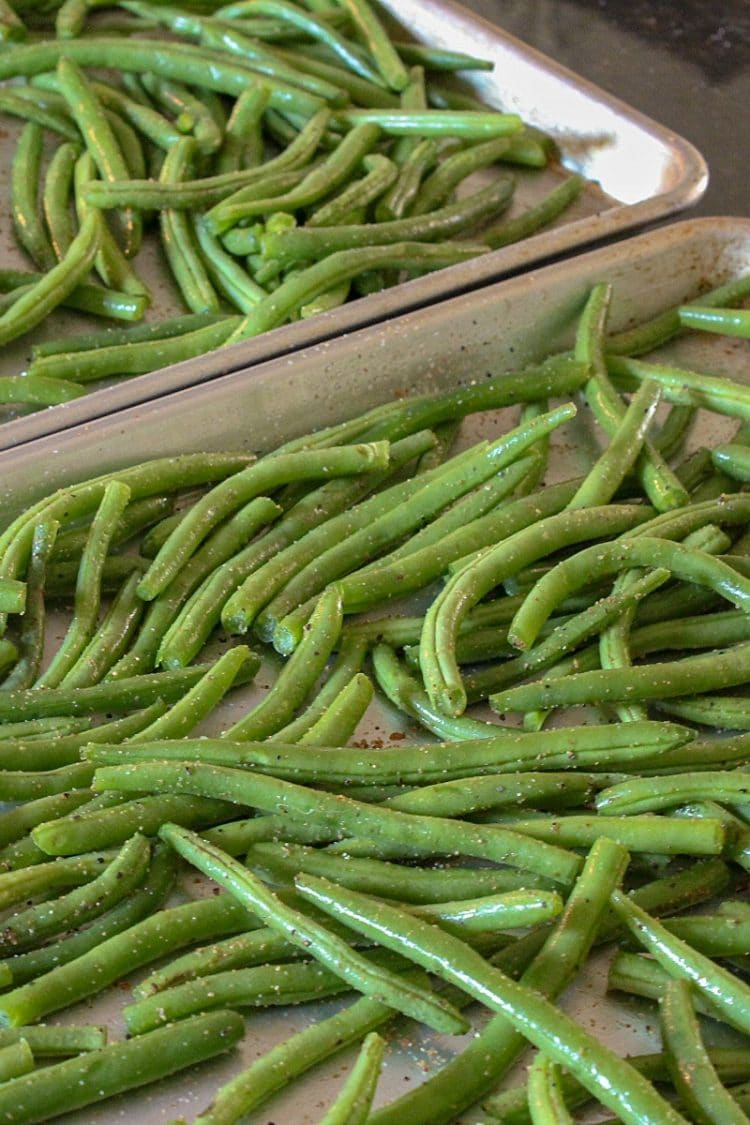 Zesty Green Bean Dippers on pan ready to roast