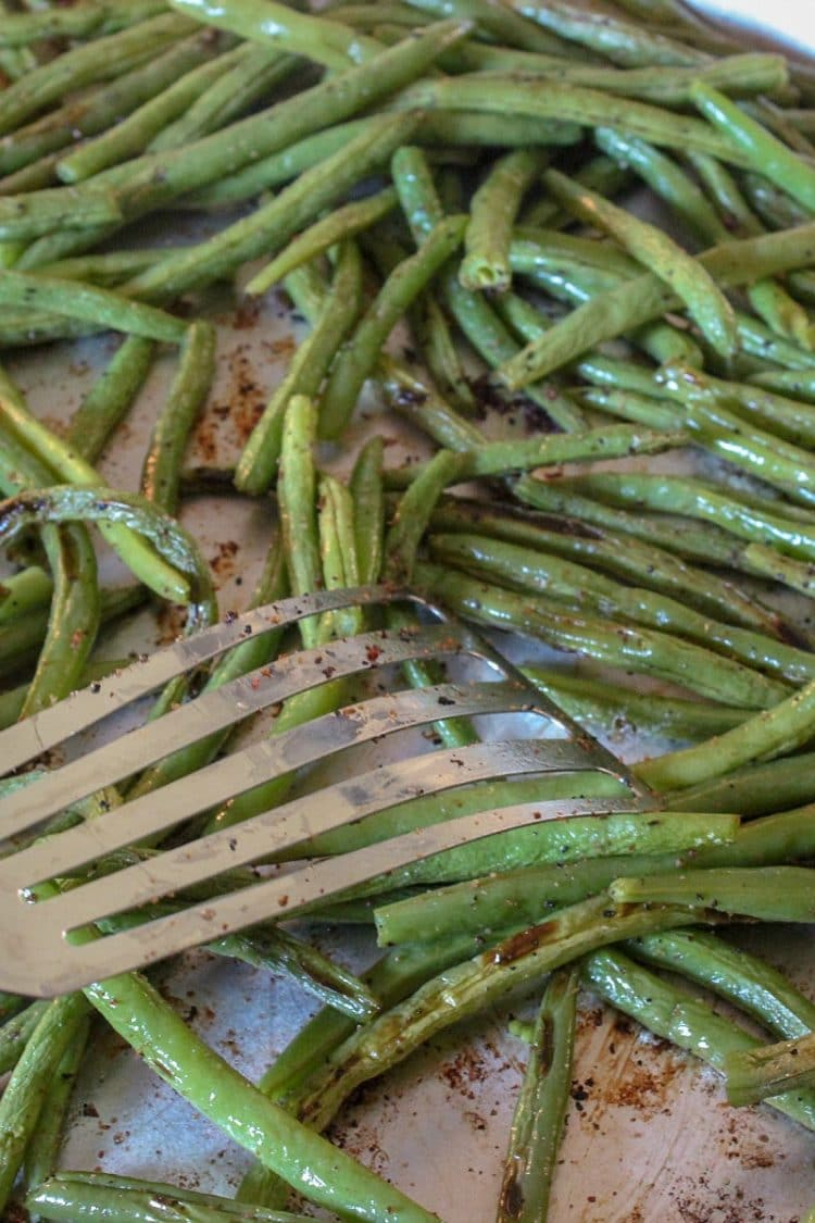 Zesty Green Bean Dippers crispy and browned on pan