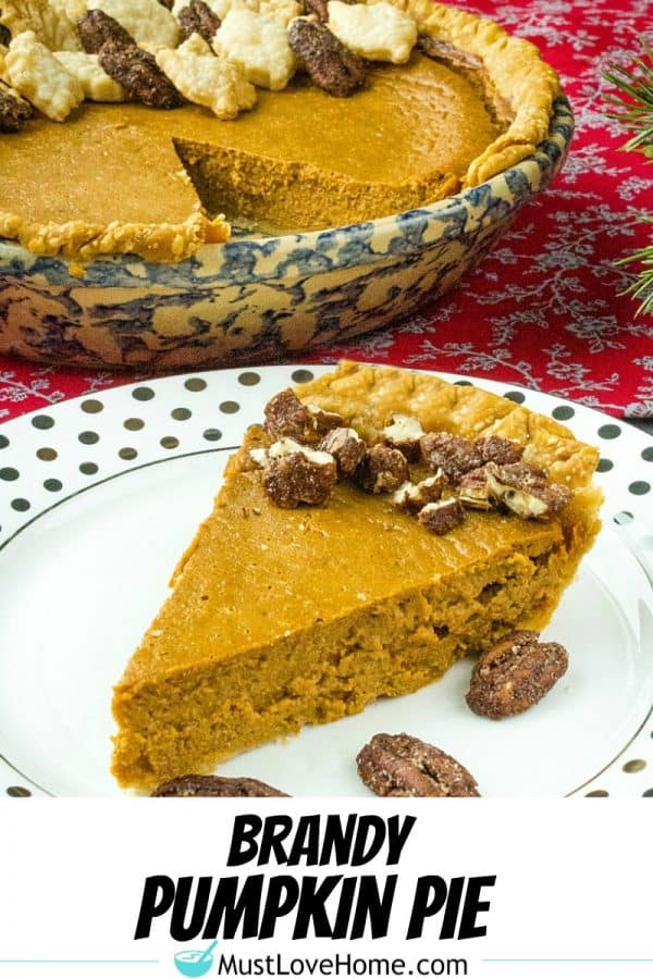 With all the delicious flavor of classic pumpkin pie, this easy Brandy Pumpkin Pie recipe is made with pumpkin, evaporated milk and spices with a healthy shot of good cheer added for the holidays!