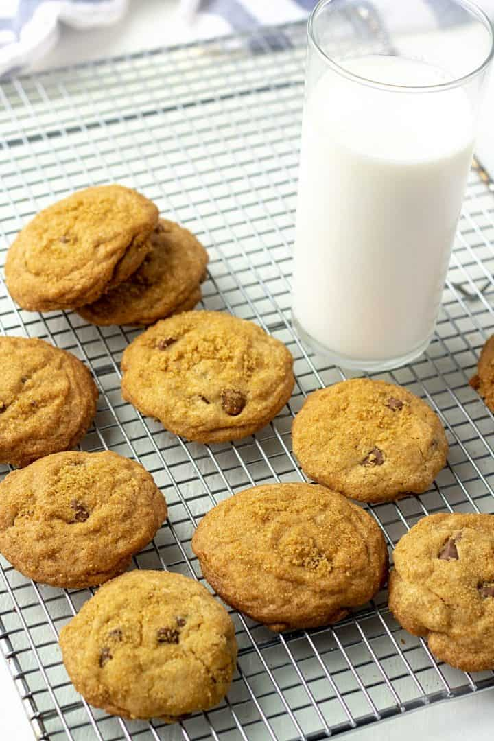 Soft and chewy, with a hint of molasses, these easy to make Brown Sugar Chocolate Chip Cookies are bake and go.