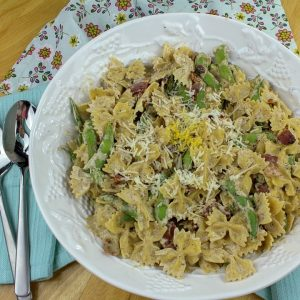 Try quick and easy Creamy Edamame Bacon Bowtie Pasta that's ready in under 30 minutes. Cream cheese makes this sauce extra thick and tasty!