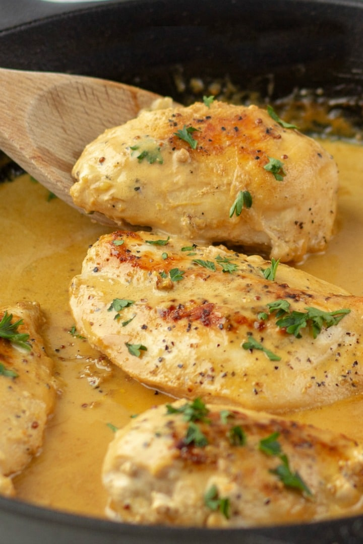 Make this Creamy French Mustard Chicken - juicy sauteed chicken breasts with an easy, tangy sauce made with two kinds of mustard and real cream! Great on pork and seafood too!