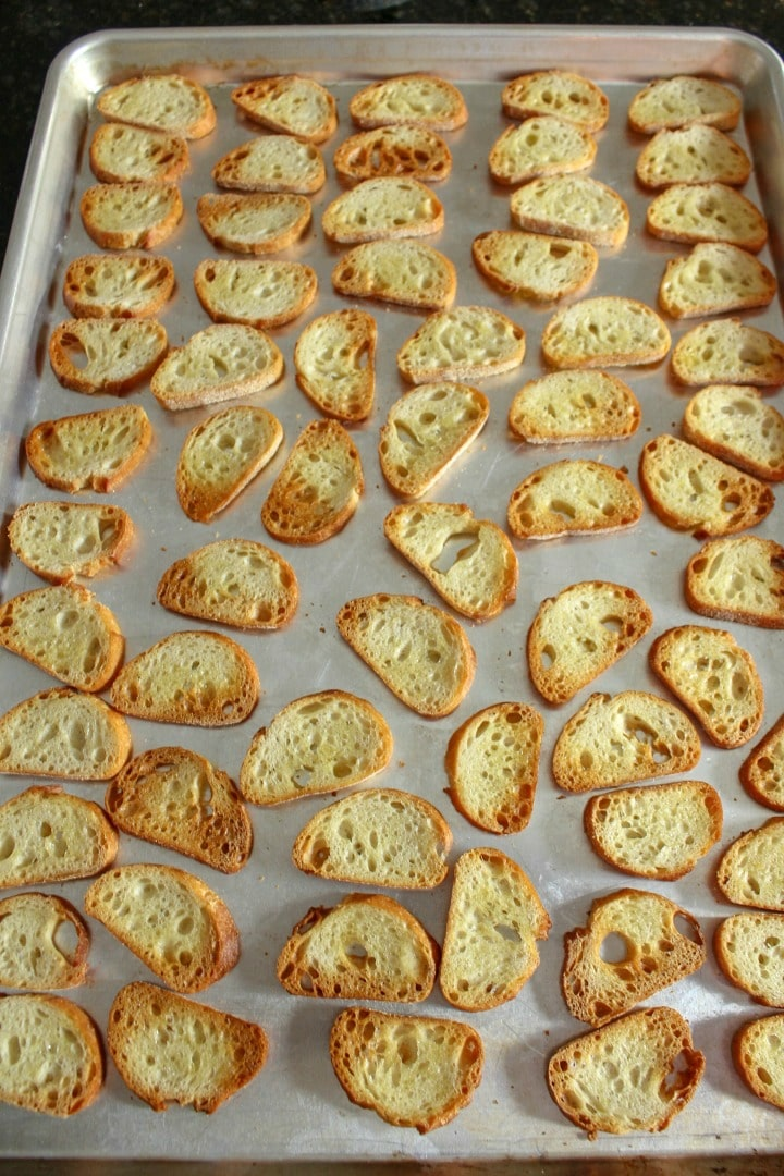 Crostini on a sheet pan for appetizers