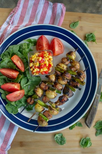 Easy pork and potato skewers that have been marinated for incredible flavor!
