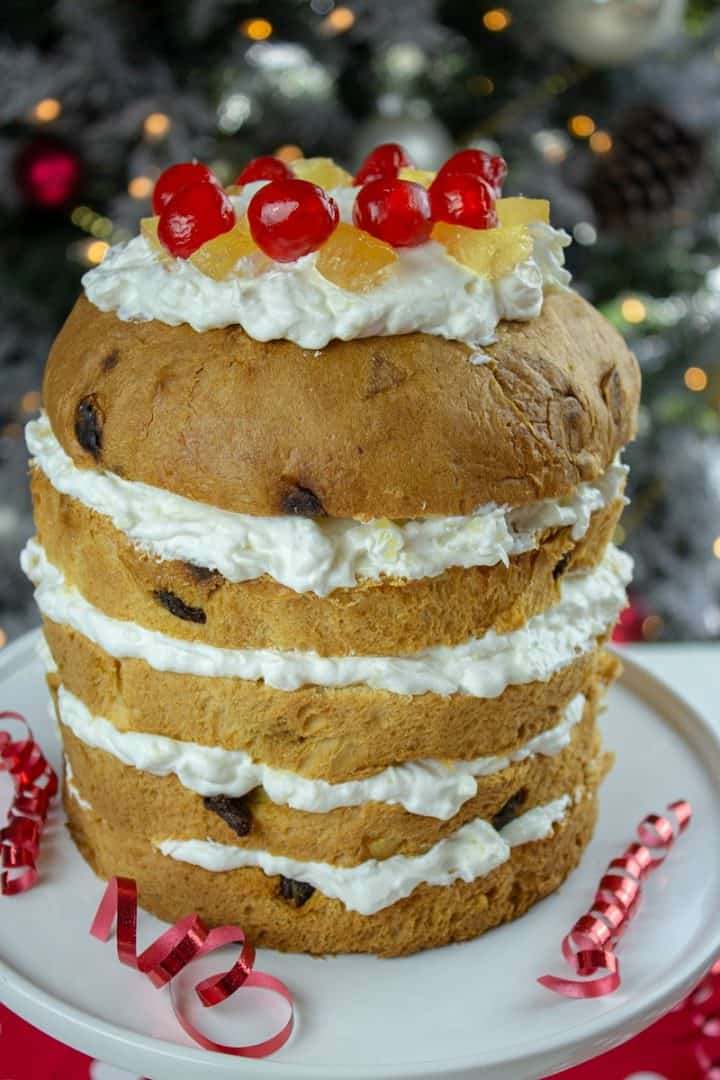 Dress up your Holiday Panettone into a showstopper this season with pineapple and rum whipped cream!