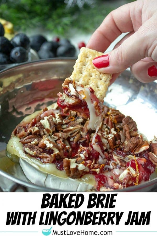 Easy made-in-the-oven cheese spread appetizer with brie cheese and lingonberry jam that tastes just like cranberries.