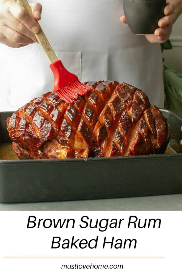 So easy and delicious, perfectly caramelized Brown Sugar Rum Baked Ham will be the centerpiece of your Sunday or holiday dinner table. Great for parties and potlucks too!
