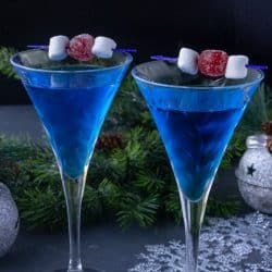Jack Frost Martini - A frosty Classic Gin and Vermouth Martini with a Blue Curacao twist!